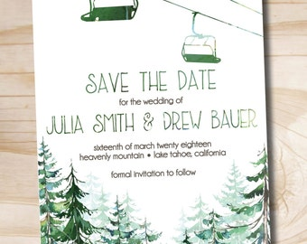 Watercolor Chairlift Gondola Wedding Save the Date - Sample