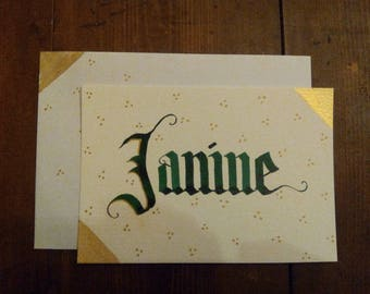 """Card Calligraphed """"Name"""" to customize Style """"corner"""" - choice of colors - 100% gold handmade"""