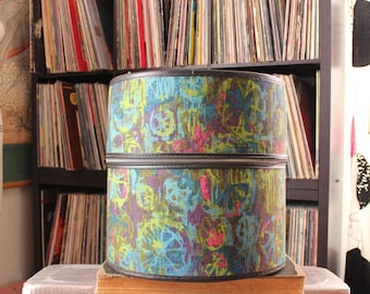 psychedelic 60s vintage wig box, large round train case luggage . batik cloth fabric zipper case hat box by Bagmaster