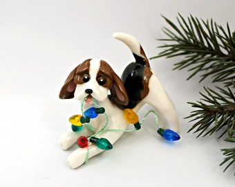 Beagle tricolore porcelaine Noël ornement Figurine lumières