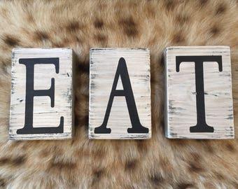 EAT Wooden Letters, EAT Wood Block Decor, Kitchen Decor, Decorative Blocks