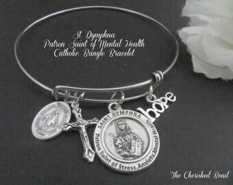St. Dymphna Patron Saint of Mental Health, Stress, Anxiety Catholic Stainless Steel Bangle Bracelet