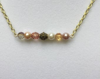 Blush Beaded Bar Necklace