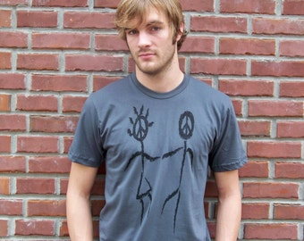 Mens t shirt, Peace sign, dad t-shirt, graphic tee, message tee, for him, under 25, american apparel, love, peace, grey, boho chic