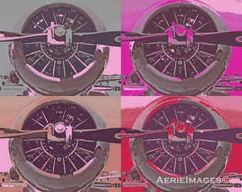 """SPIN Aviation Poster in """"Girly Colors"""" Prop Art, Pinks, Purples, Sage, tan, gray 11x14 or 16x20"""