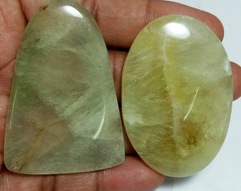 234cts Natural Green Prehnite 52-55mm Wholesale Semiprecious Loose Gemstone Cabochon for Necklace Bracelet Jewelry