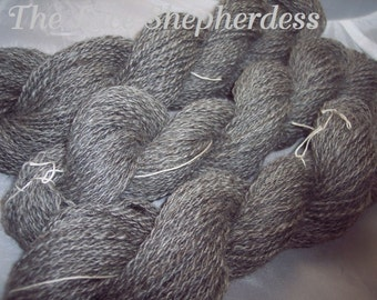 Yarn. Handspun Coopworth wool. 392 total yards. Natural dark gray SK# 107,108,109