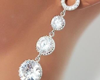 Vintage Round Cubic Zirconia Wedding Earrings, Crystal Drop Bridal Earrings, Rhinestone Wedding Jewelry, Mother of the Bride
