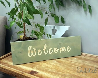 """WELCOME rustic wood farmhouse sign home decor - Size: 5.5"""" x 18"""" x 3/4"""""""