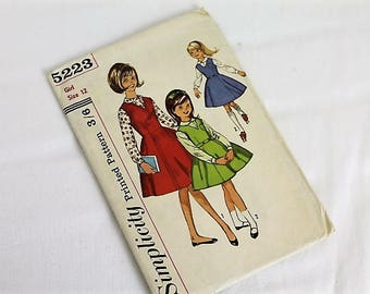 Vintage Simplicty Pattern/ Girls Jumper and Blouse/5223/ Craft Supplies and Tools/ Haberdashery/ Sewing Pattern (1G)