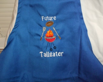 """American Made Girl or Boy Embroidered Child Apron """"Future Tailgater"""" with a grill in Size Small Medium or Large"""