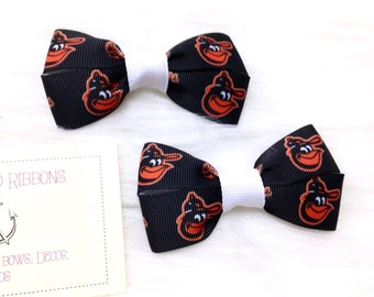 Baltimore Orioles - Set of TWO Hair Bows / Barrettes / Clips! Choose from 3 color options!