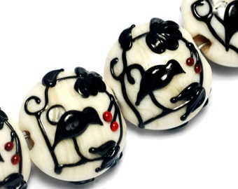 Glass Lampwork Bead Sets - Four Tranquility Vines Opaque Lentil Beads 10204912