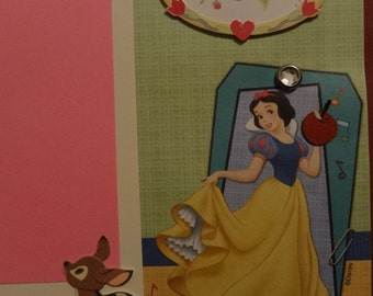 Snow White Disney princess scrapbook page 12X12 pink girl dress-up imagination
