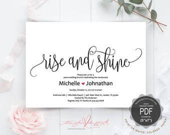 Post wedding Newlywed Brunch Invitation card PDF editable template, rise and shine, instant download printable, wedding weekend (TED334_27)