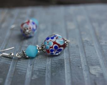 Floral Dangle Earrings, Romantic gift idea for wife, Handmade Earrings, Flower Lampwork Earrings, Drop Earrings, Modern Colorful Jewelry