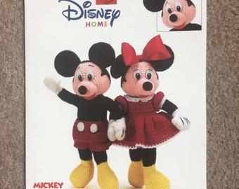 Mickey and Minnie Mouse Dolls Crochet Pattern, Disney Crochet Pattern Leaflet Mickey and Minnie Leisure Arts 3293 Crochet Chart 3293, Rare