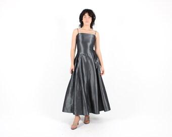 90s Structured LIQUID Metallic Silver FUTURISTIC Minimal Spaghetti Strap Maxi Party Dress w/ Voluminous Tulle Skirt / Statement Silhouette