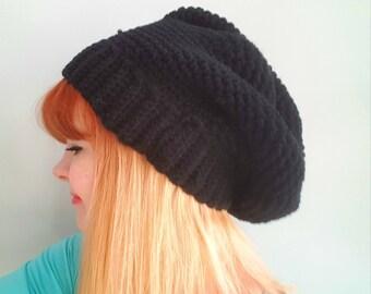 Black slouchy crochet beret winter hat