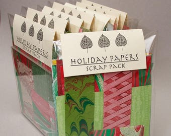 Holiday Paper Scrap Pack, art supply for card making, scrapbooking in Reds & Greens
