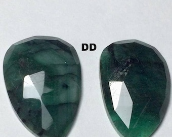 AAA++ Top Quality Natural Emerald Faceted Slices Smooth Polished Rose Cut Slices Pair For Jewellery