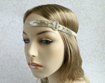 Flapper Headband, Silver 1920s Headpiece, Roaring 20s Hair Piece, Great Gatsby Headpiece, Gatsby Wedding Bridal Headpiece, Downton Abbey
