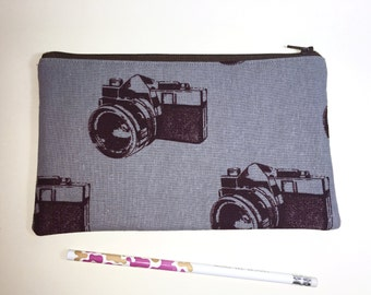 Pencil Case Zip Pouch - Camera - Grey