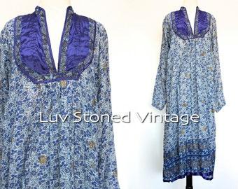 70s Vintage India Ethnic Boho Hippie Cotton Indian Gypsy Festival Maxi Midi Dress | XS - SM | 1113.9.18.15