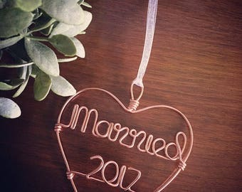 Married Ornaments - Gold or Silver Wire Ornaments for Holidays, Wedding/ Engagement/ Bridal Shower Gift