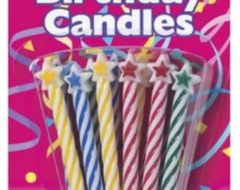 STAR Spiral Birthday Candles (12 PACK)