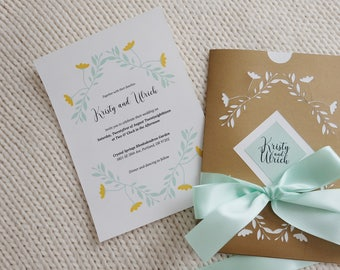 Mint and Gold Summer/Spring Wedding Invitation Suite