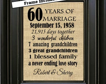 FRAMED Custom 60th Wedding Anniversary Gift/60th Anniversary Gift/60 years of Marriage/Anniversary Gift for Parents/Diamond Anniversary Gift