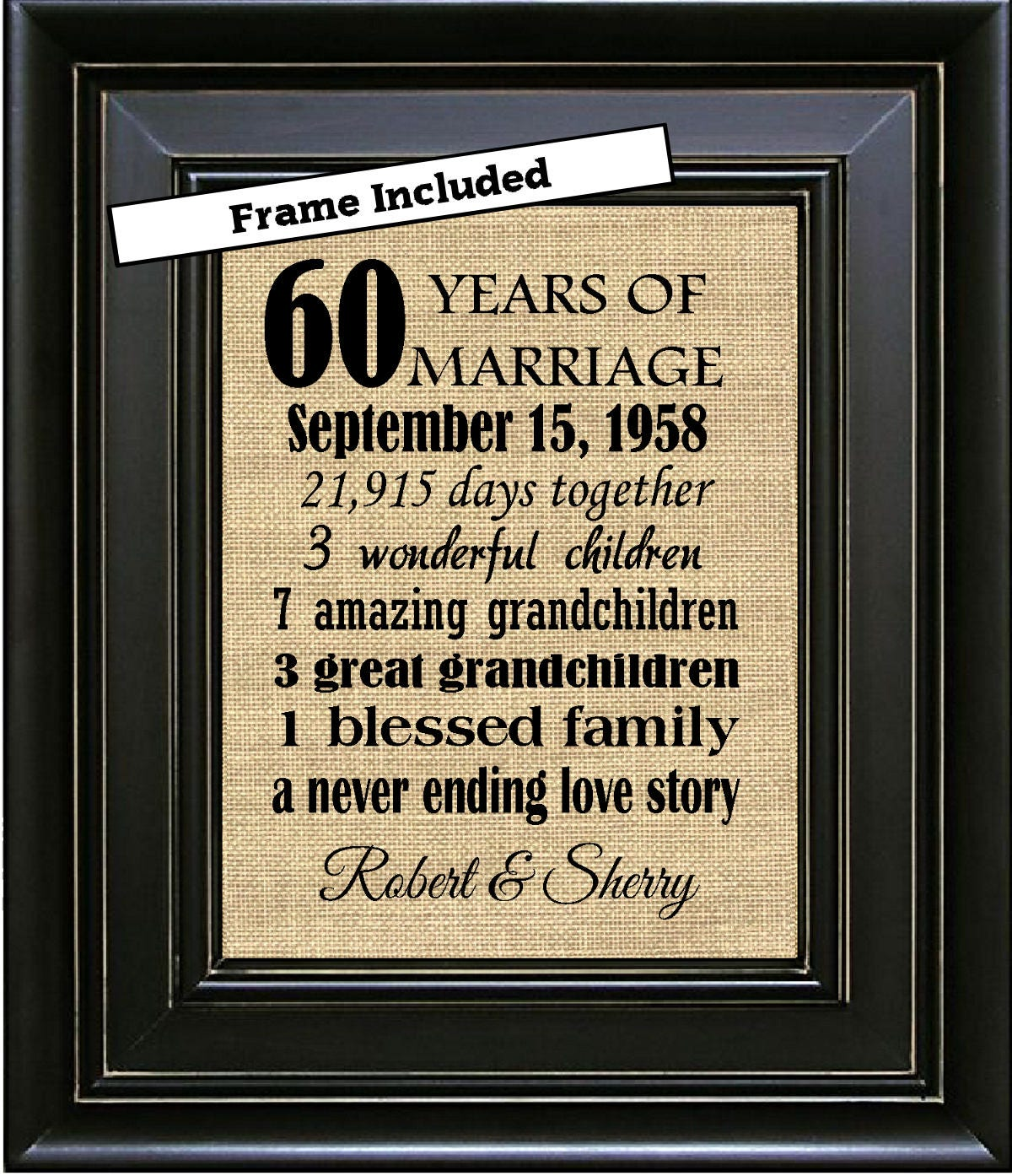 Gifts For 60th Wedding Anniversary: FRAMED Custom 60th Wedding Anniversary Gift/60th Anniversary