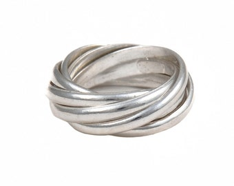 Intertwined Silver Rings (7 Bands) - Russian Wedding Ring