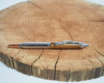 Hand Turned Cartridge Wooden Bullet Pen