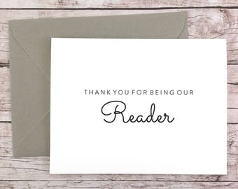 Thank You For Being Our Reader Card, Wedding Reader Card, Thank You Card, Wedding Card- (FPS0016)