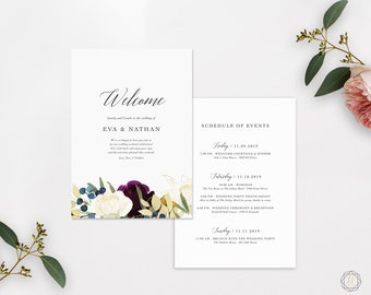 Wedding Itinerary, Printable Wedding Itinerary, Wedding Welcome Letter, Printable Welcome Letter, Itinerary Printable, Welcome Bag Note #PNG