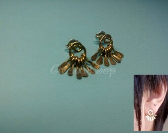 swirl and fringes 14k gold filled or sterling silver stud earrings