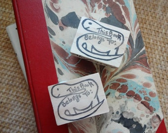 This Book Belongs To...Hand Carved Rubber Stamp: Dino-mite Book Stamp, Book Plate, Name Stamp, Teacher Gift, Back to School
