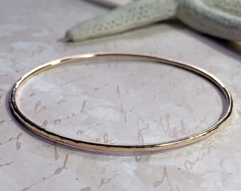 14K Solid Yellow Gold Stacking Bangle Bracelet