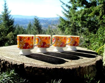 Set of 4 HH Retro Coffee Mugs - 1969 Mod Mugs - Pattern #7969