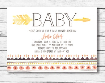 Tribal Baby Shower Invitation, Tribal Baby shower Invite, Arrow Baby Shower Invitation, Aztec baby shower invite, Pow Wow Baby Shower