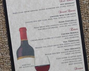 Vintage Wine Rehearsal/Wedding Dinner Menu
