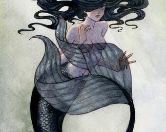 Black Mermaid print - 8x10 or 11x14