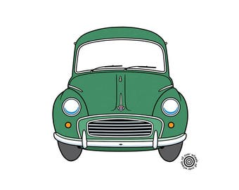 Morris Minor 1000 T-SHIRT! vintage Morris Choice of colors DTG printed on cotton shirts Classic Morris Minor Original art by Wheels All Over