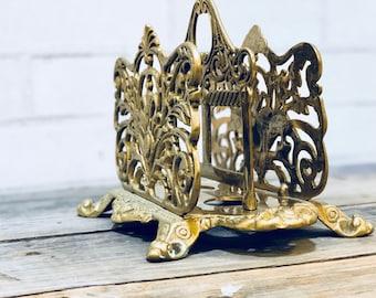 Vintage Baroque Napkin Holder | Paper Sorter | Paper Holder | Mail Sorter | Vintage Desk | Vintage Office | Vintage Organization | Gold