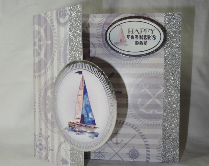 Fathers Day Card, Greeting Card, Birthday Card, Sailing Boat, Nautical Background, Blue and Silver