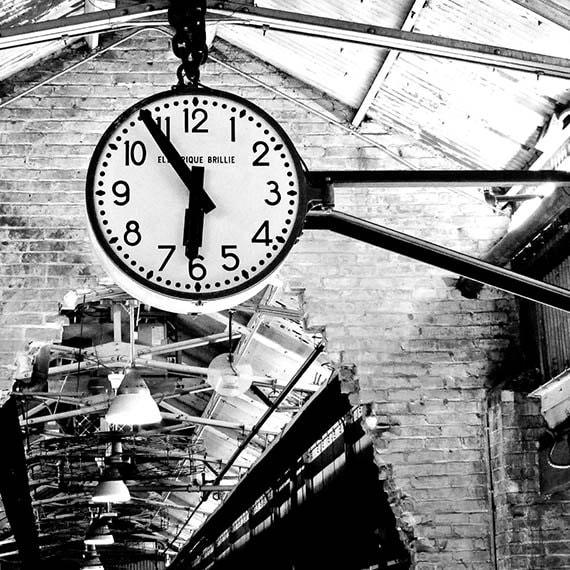New York Travel Photography, City, Clock, Warehouse, Wall Art, Urban Decor, Black and White print