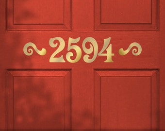 House Number: Custom Door Number Sticker, Removable Vinyl Wall Decal, Victorian Style Lettering with Accents (01711a0v)