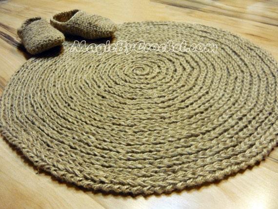 Rustikale cottage teppich jute teppich runder teppich